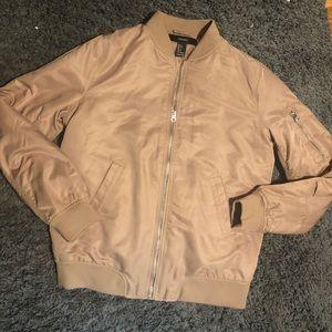 Faux leather bomber jacket beige